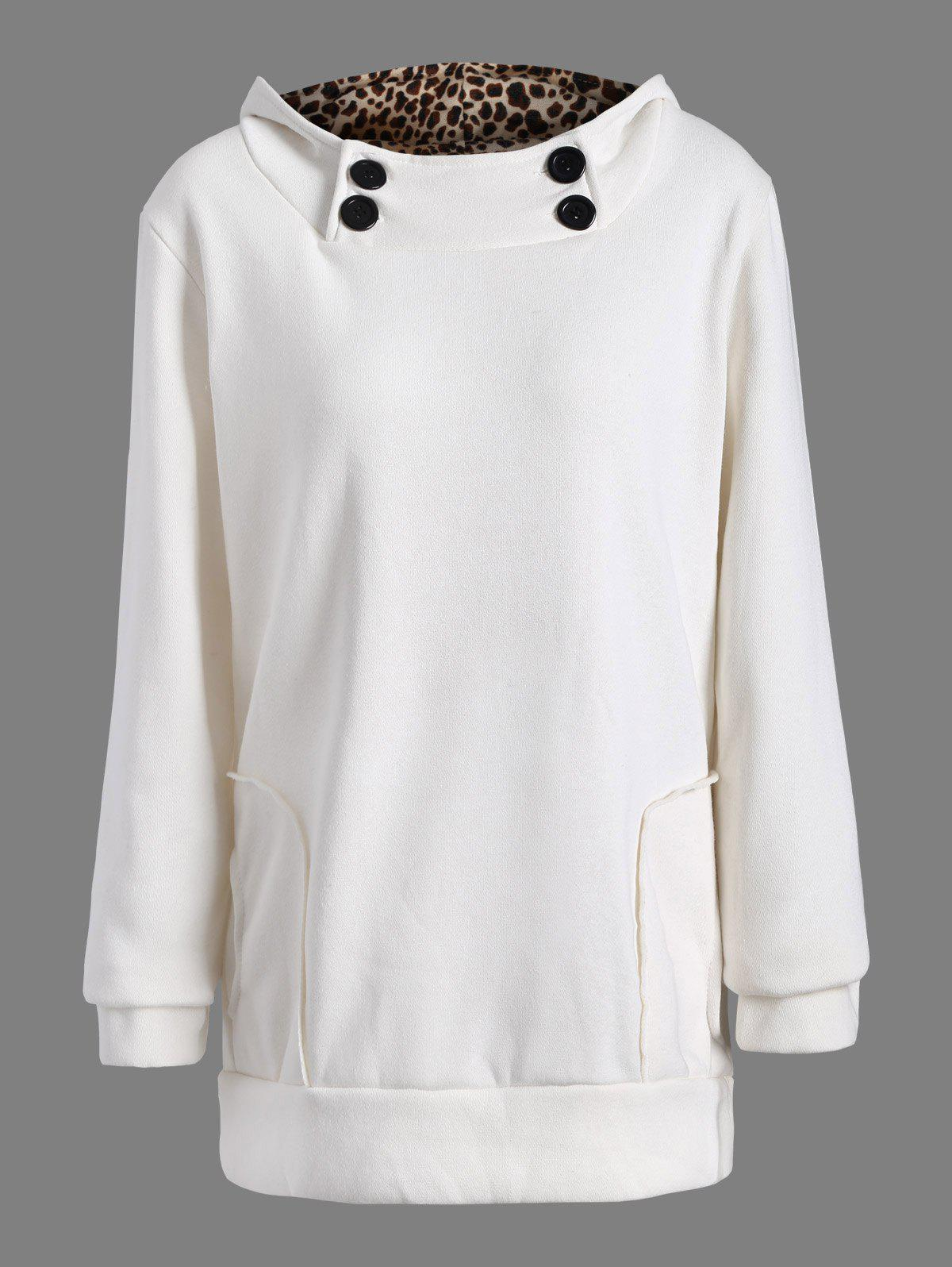 Solid Color Loose Fitting Leopard Print Hoodie For WomenWOMEN<br><br>Size: ONE SIZE; Color: WHITE; Material: Cotton Blend; Shirt Length: Regular; Sleeve Length: Full; Style: Fashion; Pattern Style: Leopard; Weight: 0.363kg; Package Contents: 1 x Hoodie;