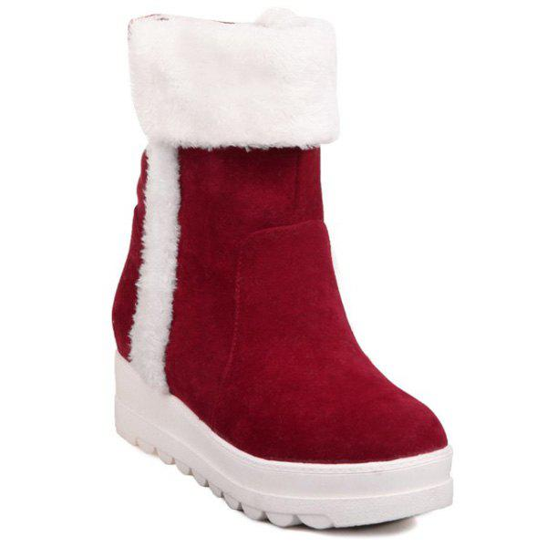 Discount Fuzzy Mid Calf Flatform Snow Boots