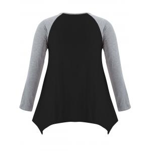 Casual Color Block Asymmetric T-Shirt -