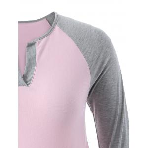 Casual Color Block Asymmetric T-Shirt - PINK 4XL