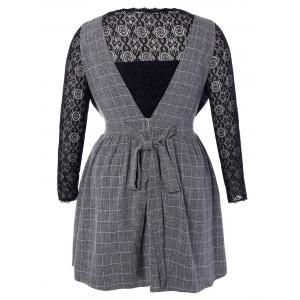 Plus Size Lace Top and Checked Pinafore Dress -