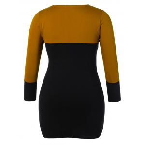 Plus Size Color Block Bodycon Dress With Scarf -