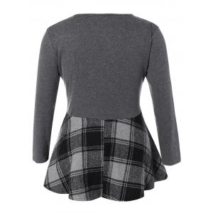 Plus Size Long Sleeve Plaid Insert Mini Dress - GRAY 5XL