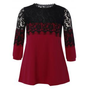 Plus Size Lace Hollow Out  Mini Dress - Wine Red - Xl