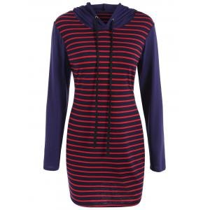 Stripe Sheath Hooded Dress