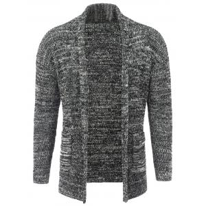 Long Sleeve Drop Shoulder Heathered Cardigan
