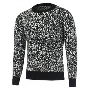 Long Sleeve Round Neck Texture Pullover Sweater - Black - L