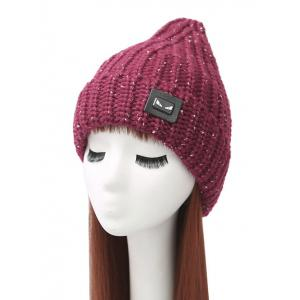 Demon Label Flanging Knitted Hat - Wine Red - Xl