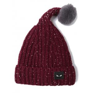 Demon Label Flanging Knitted Hat - WINE RED