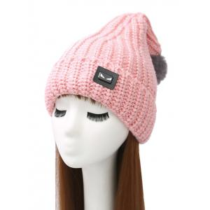 Demon Label Flanging Knitted Hat - Pink