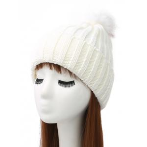 Pom Ball Flanging Knitted Beanie - White