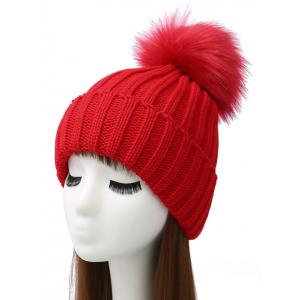Pom Ball Flanging Knitted Beanie - Red