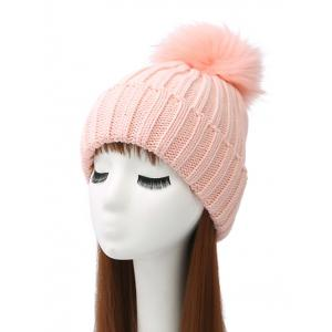 Pom Ball Flanging Knitted Beanie - Pink