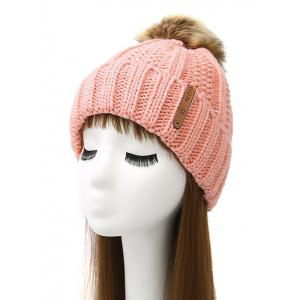 Pom Ball Striped Knitted Beanie - Pink