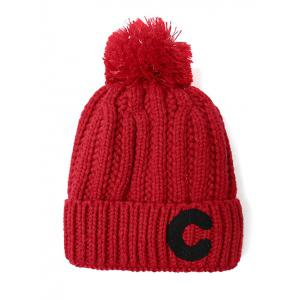 Pom Ball Letter C Knitted Beanie -
