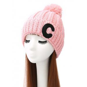 Pom Ball Letter C Knitted Beanie - Pink