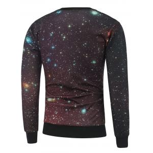 Skull Print Crew Neck Galaxy Sweatshirt - BLACK M
