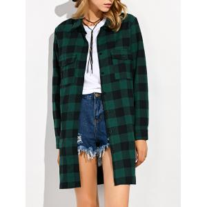 Gingham Plaid Long Flannel Shirt - Green - S