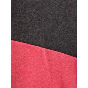 Raglan Sleeve Drawstring Color Panel Hoodie - RED AND GREEN 2XL
