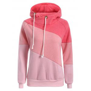 Raglan Sleeve Drawstring Color Panel Hoodie - Pink - S