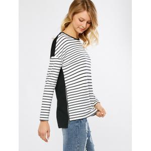 Zip Side Striped High Low T-Shirt -