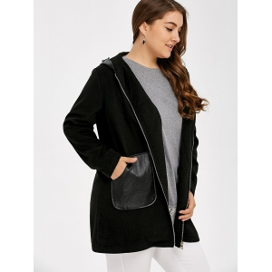 Plus Size PU Leather Trim Coat - BLACK 5XL