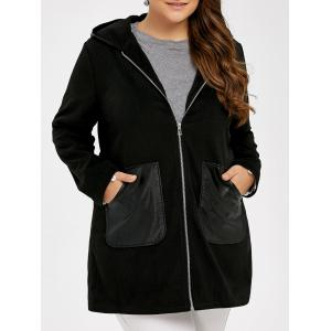 Plus Size PU Leather Trim Coat - Black - Xl