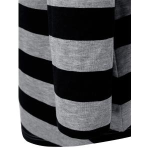 Plus Size Vertical Pockets Striped Hoodie -