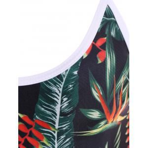 Cami Leaf Print Backless Swimwear - BLACK XL