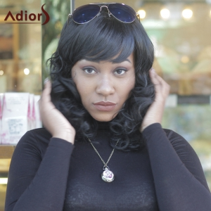 Synthetic Fashion Full Bang Curly Wigs For Women - BLACK