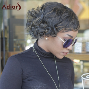 Prevailing Synthetic Short Curly Mixed Color Side Bang For Women - COLORMIX