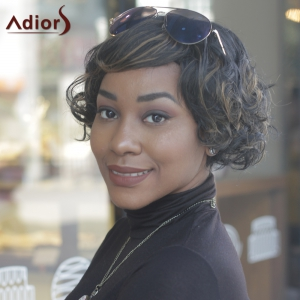 Prevailing Synthetic Short Curly Mixed Color Side Bang For Women -