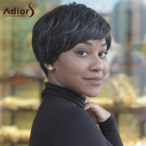 Virile Short Side Bang Black Women's Synthetic Hair Wig -