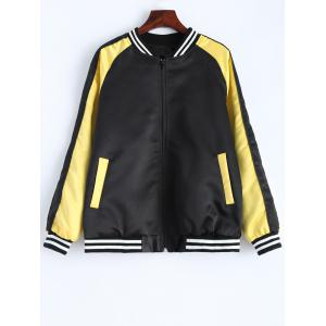 Stripe Panel Baseball  Jacket - Black - L