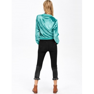 Short Velvet Bomber Jacket -