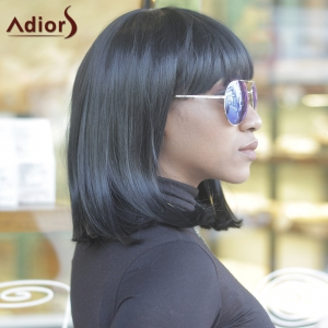 Unprocessed Medium Full Bang Straight Black Women's Synthetic Hair Wig -