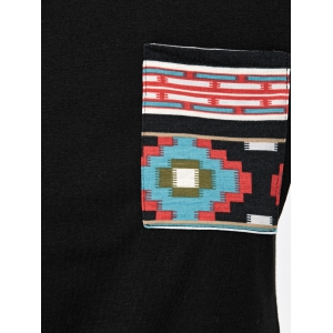 Long Sleeve Pocket Printed T-Shirt - BLACK XS