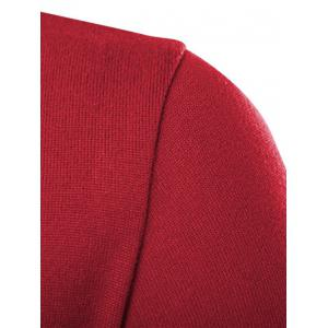 Stand Collar Color Block Knitted T-Shirt - RED 2XL