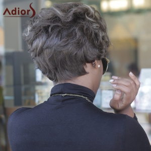 Short Big Curly Highlight High Temperature Fiber Wig -
