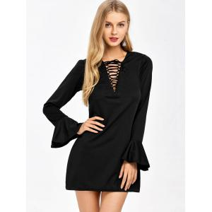 Bell Sleeve  Mini Lace-Up Plunge Dress - BLACK XL