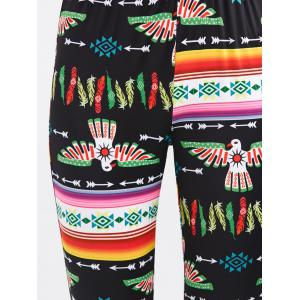 Tribal Bird Printed Skinny Pants - BLACK XL