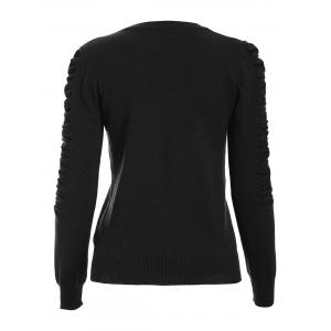 Ruched Crew Neck Knit Sweater -