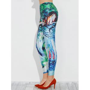 Skinny Anime Cat Printed Leggings -