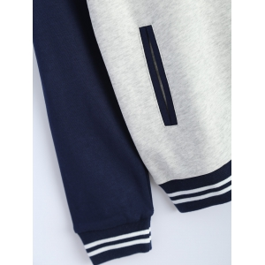 Embroidered Baseball Jacket with Pockets -