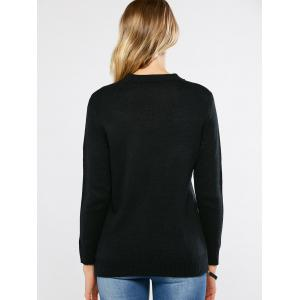 Sequined Pullover Sweater - BLACK ONE SIZE