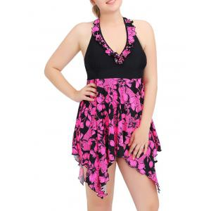 Halter Asymmetric Floral Skirted Tankini Swimwear