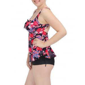 Cami Floral Cut Out Tankini Set - RED 6XL