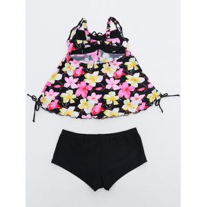 Cami Floral String Cut Out Tankini Set - YELLOW 6XL