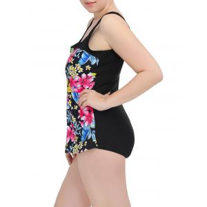 Floral Square Neck One-Piece Swimwear - LIGHT PINK 5XL