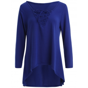 Long Sleeve Hooded Front Lace Up T-Shirt